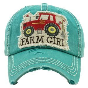 Farm Girl Turquoise Distressed Adjustable Hat